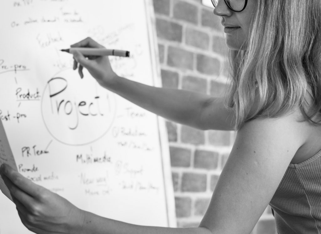 Caucasian woman writing project plan on white board